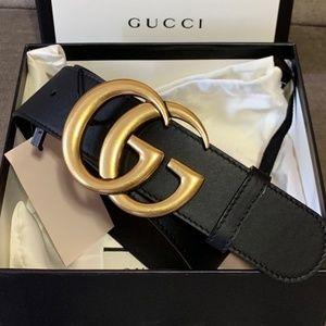 Black GG leather belt
